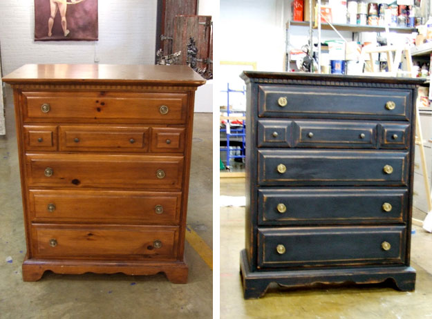 Dresser refinishing before and after